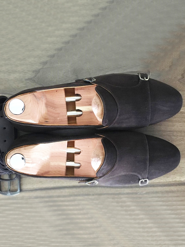 Handmade Black Suede Leather Double Monk Strap Loafers by BespokeDailyShop.com with Free Worldwide Shipping
