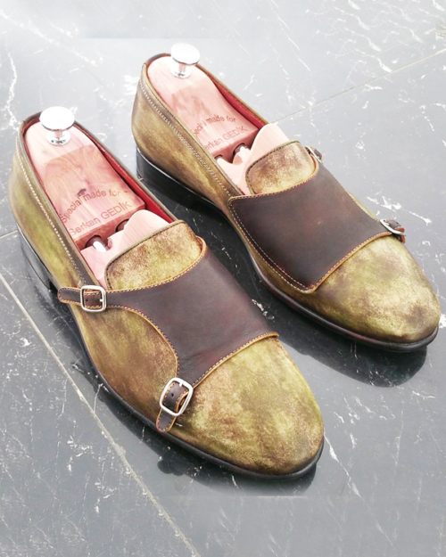 Handmade Brown Leather Double Monk Strap Loafers by BespokeDailyShop.com with Free Worldwide Shipping