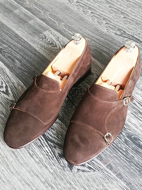 Handmade Brown Suede Leather Double Monk Strap Loafers by BespokeDailyShop.com with Free Worldwide Shipping