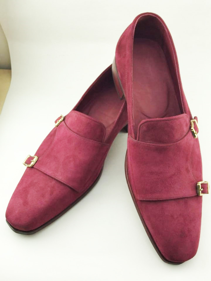 Handmade Burgundy Suede Leather Double Monk Strap Loafers by BespokeDailyShop.com with Free Worldwide Shipping