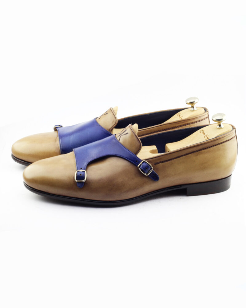 Handmade Camel Leather Double Monk Strap Loafers by BespokeDailyShop.com with Free Worldwide Shipping