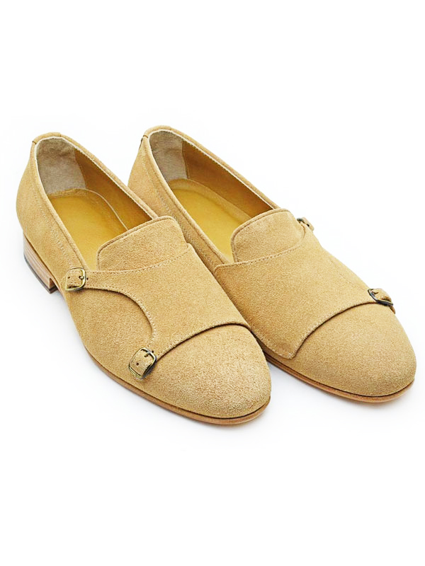 Handmade Camel Suede Leather Double Monk Strap Loafers by BespokeDailyShop.com with Free Worldwide Shipping