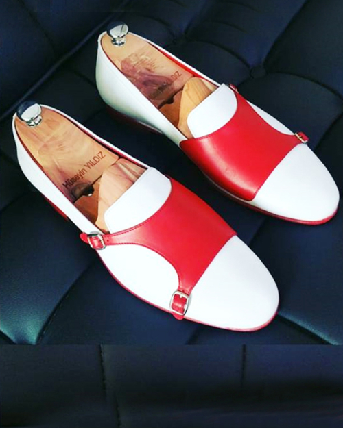 Handmade White Leather Double Monk Strap Loafers by BespokeDailyShop.com with Free Worldwide Shipping