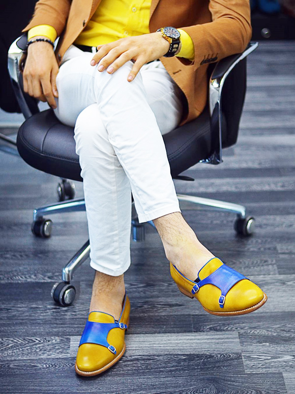 Handmade Yellow Leather Double Monk Strap Loafers by BespokeDailyShop.com with Free Worldwide Shipping