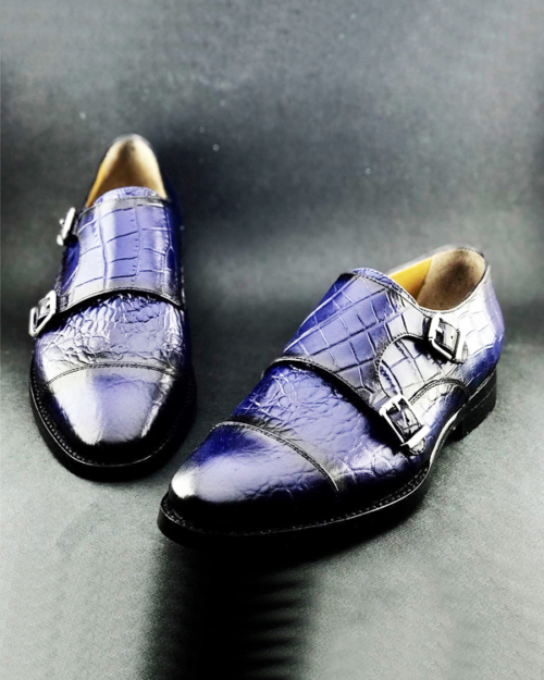Handmade Blue Crocodile Embossed Leather Monk Strap Shoes by BespokeDailyShop.com with Free Worldwide Shipping
