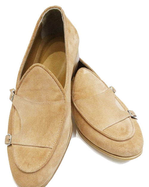 Handmade Camel Suede Leather Monk Strap Loafers by BespokeDailyShop.com with Free Worldwide Shipping