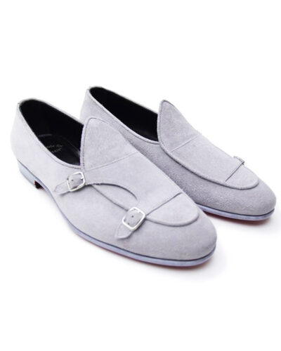 Handmade Gray Suede Leather Monk Strap Loafers by BespokeDailyShop.com with Free Worldwide Shipping