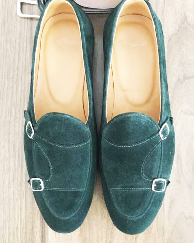 Handmade Green Suede Leather Monk Strap Loafers by BespokeDailyShop.com with Free Worldwide Shipping