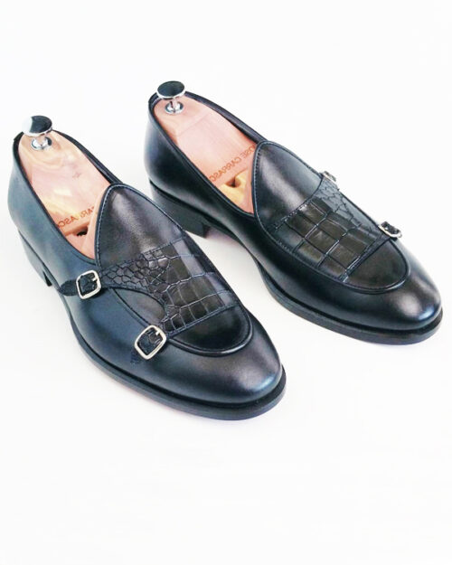 Black Leather Double Monk Strap Loafers by BespokeDailyShop.com with Free Worldwide Shipping