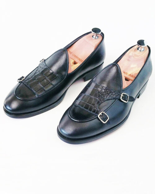 Black Leather Kilt Double Monk Strap Loafers by BespokeDailyShop.com with Free Worldwide Shipping