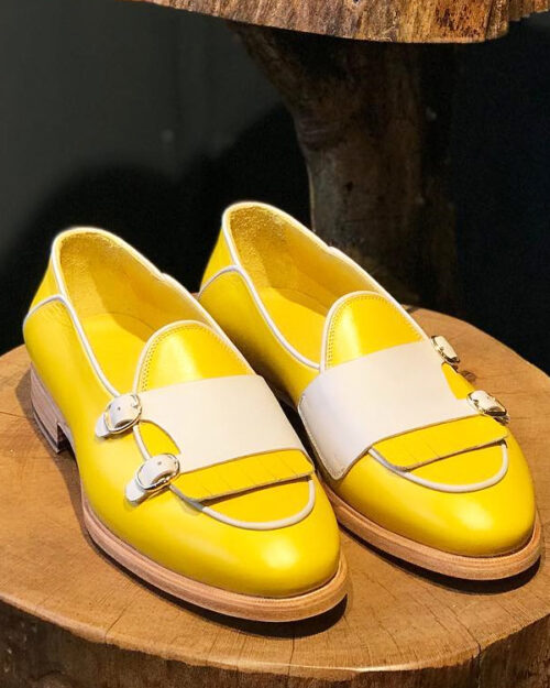 Yellow Leather Kilt Double Monk Strap Loafers by BespokeDailyShop.com with Free Worldwide Shipping