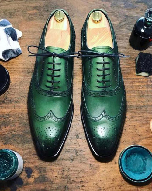 Handmade Green Wing Tip Oxfords by BespokeDailyShop.com with Free Worldwide Shipping