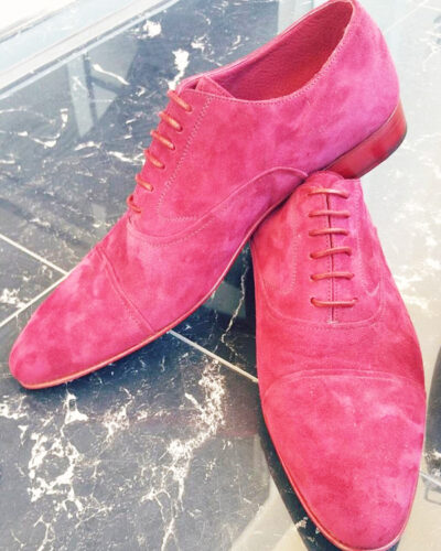 Handmade Pink Suede Leather Whole-cut Oxfords by BespokeDailyShop.com with Free Worldwide Shipping