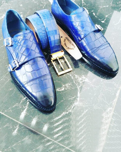 Blue Crocodile Embossed Leather Monk Strap Shoes by BespokeDailyShop.com with Free Worldwide Shipping