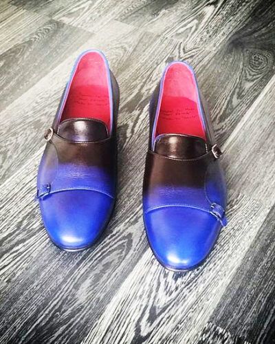 Handmade Blue Leather Double Monk Strap Loafers by BespokeDailyShop.com with Free Worldwide Shipping