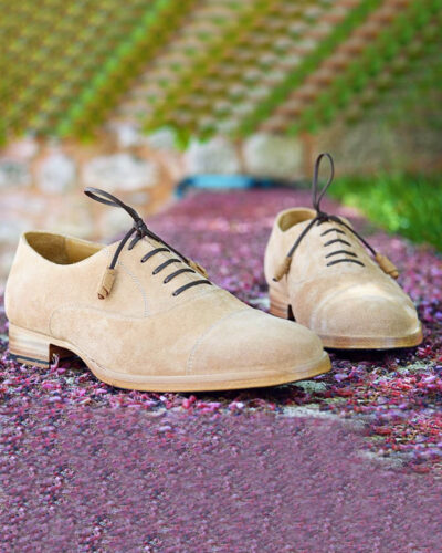 Handmade Camel Suede Leather Oxfords by BespokeDailyShop.com with Free Worldwide Shipping