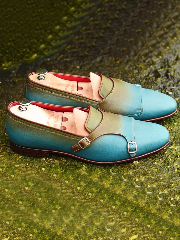 Handmade Turquoise Leather Double Monk Strap Loafers by BespokeDailyShop.com with Free Worldwide Shipping