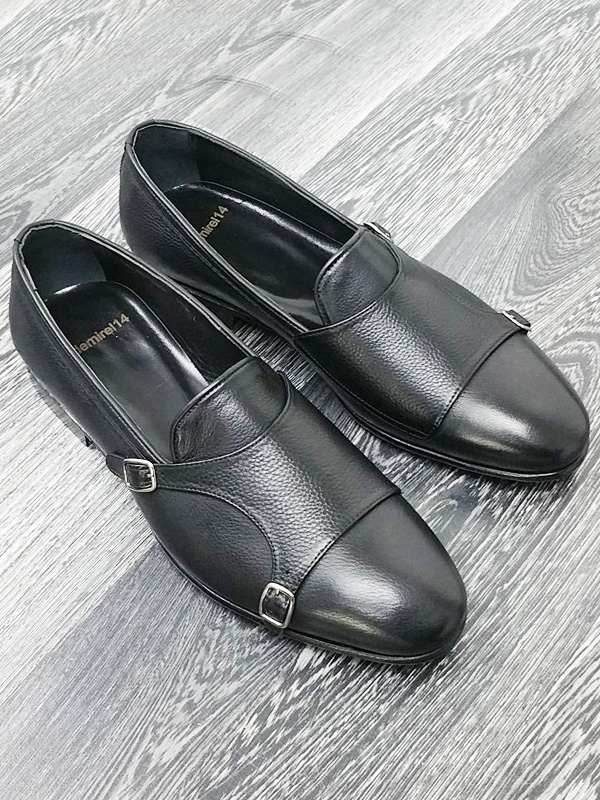 Handmade Black Leather Double Monk Strap Loafers by BespokeDailyShop.com with Free Worldwide Shipping
