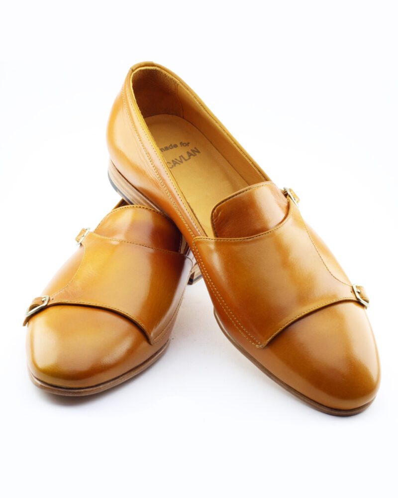Mustard Leather Double Monk Strap Loafers by BespokeDailyShop.com with Free Worldwide Shipping