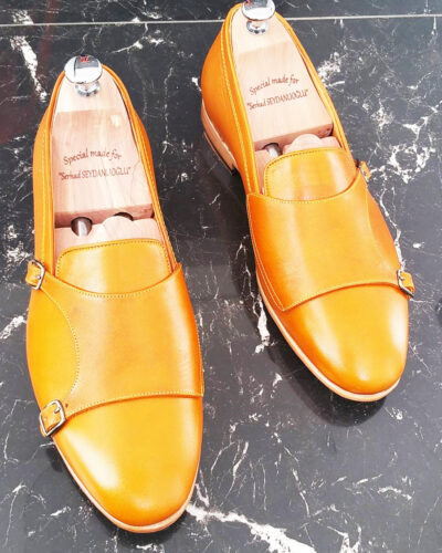 Handmade Mustard Leather Double Monk Strap Loafers by BespokeDailyShop.com with Free Worldwide Shipping