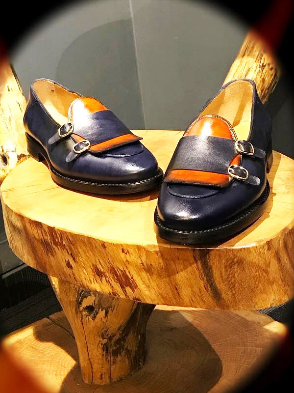 Handmade Navy Blue Leather Kilt Double Monk Strap Loafers by BespokeDailyShop.com with Free Worldwide Shipping