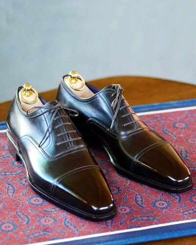 Handmade Black Whole-cut Cap Toe Oxfords by BespokeDailyShop.com with Free Worldwide Shipping