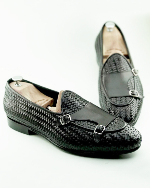 Handmade Black Woven Leather Monk Strap Loafers by BespokeDailyShop.com with Free Worldwide Shipping