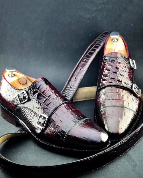 Handmade Brown Crocodile Embossed Leather Monk Strap Shoes by BespokeDailyShop.com with Free Worldwide Shipping