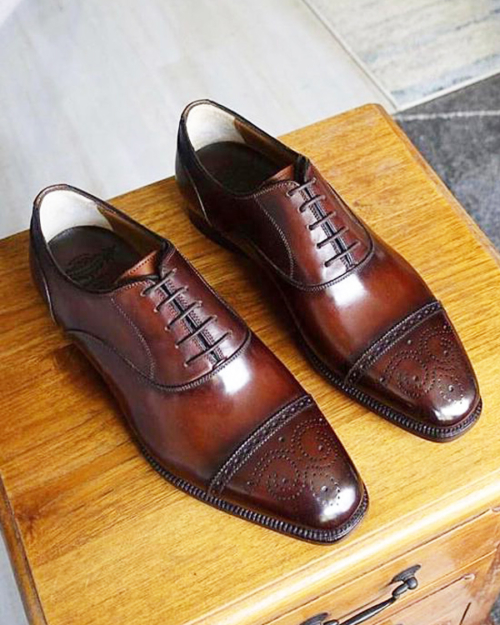 Handmade Brown Whole-cut Cap Toe Oxfords by BespokeDailyShop.com with Free Worldwide Shipping