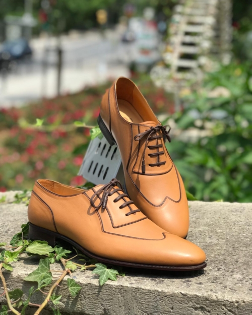 Handmade Brown Wing Tip Oxfords by BespokeDailyShop.com with Free Worldwide Shipping