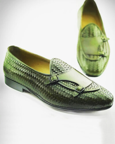 Handmade Green Woven Leather Monk Strap Loafers by BespokeDailyShop.com with Free Worldwide Shipping