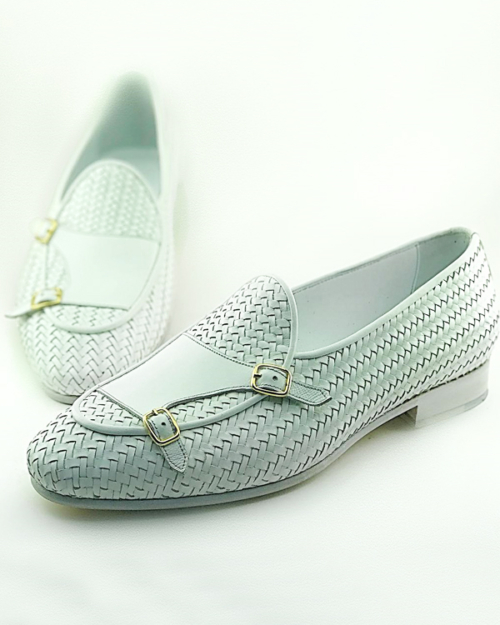 White Woven Leather Monk Strap Loafers by BespokeDailyShop.com with Free Worldwide Shipping
