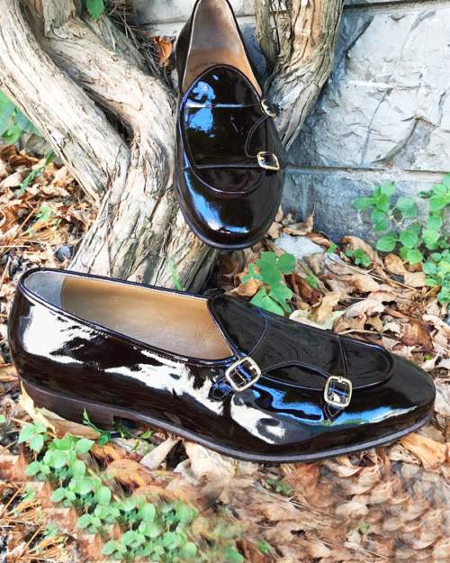 Handmade Black Leather Monk Strap Loafers by BespokeDailyShop.com with Free Worldwide Shipping