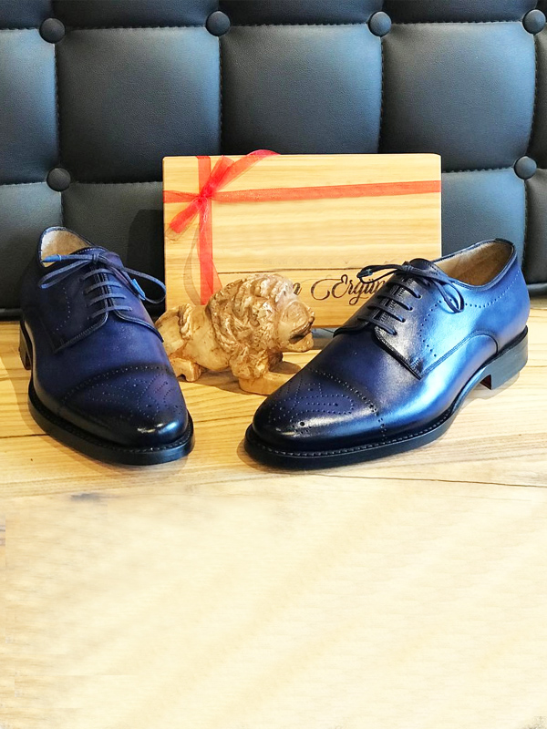 Bespoke Villanova Blue Leather Derby Shoes by BespokeDailyShop.com with Free Worldwide Shipping
