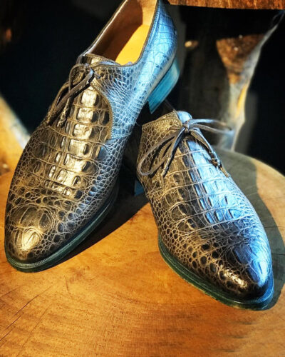Handmade Black Crocodile Embossed Leather Oxfords by BespokeDailyShop.com with Free Worldwide Shipping