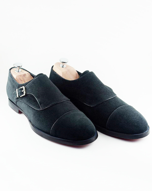Handmade Black Suede Leather Cap Toe Single Monk Strap Shoes by BespokeDailyShop.com with Free Worldwide Shipping