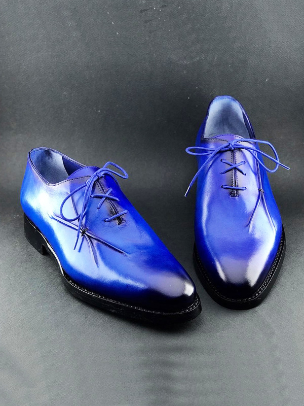 Handmade Blue Leather Oxfords by BespokeDailyShop.com with Free Worldwide Shipping