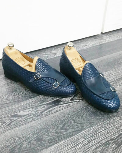 Handmade Blue Woven Leather Monk Strap Loafers by BespokeDailyShop.com with Free Worldwide Shipping