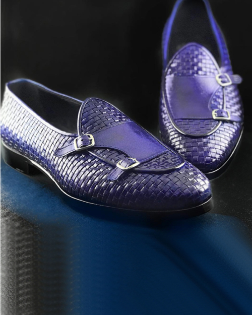 Handmade Indigo Woven Leather Monk Strap Loafers by BespokeDailyShop.com with Free Worldwide Shipping