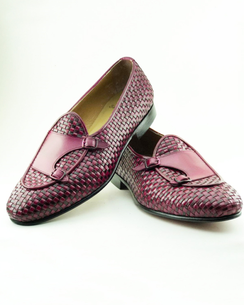 Handmade Magenta Woven Leather Monk Strap Loafers by BespokeDailyShop.com with Free Worldwide Shipping