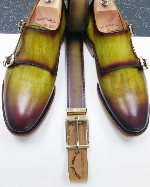 Handmade Olive Green Leather Monk Strap Shoes by BespokeDailyShop.com with Free Worldwide Shipping