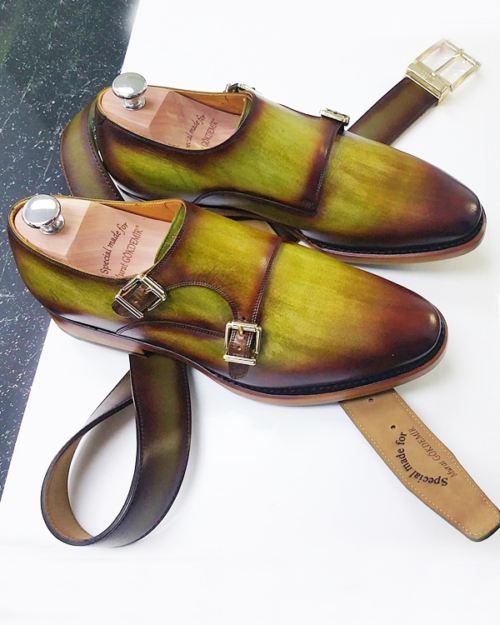 Handmade Brown Leather Cap Toe Monk Strap Shoes by BespokeDailyShop.com with Free Worldwide Shipping
