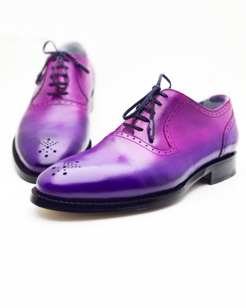 Handmade Purple Blue Leather Oxfords by BespokeDailyShop.com with Free Worldwide Shipping