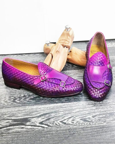 Handmade Purple Woven Leather Monk Strap Loafers by BespokeDailyShop.com with Free Worldwide Shipping