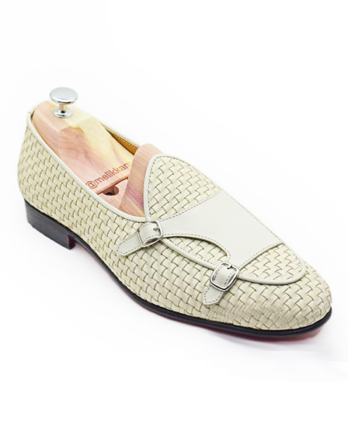 Handmade White Woven Leather Monk Strap Loafers by BespokeDailyShop.com with Free Worldwide Shipping