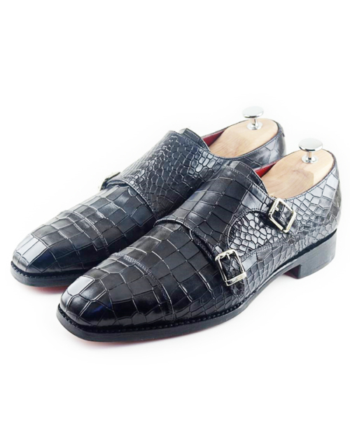 Handmade Black Crocodile Embossed Leather Monk Strap Shoes by BespokeDailyShop.com with Free Worldwide Shipping