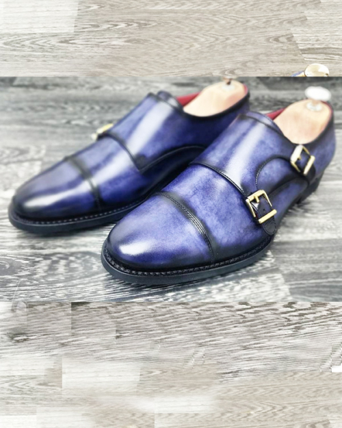 Handmade Blue Leather Cap Toe Monk Strap Shoes by BespokeDailyShop.com with Free Worldwide Shipping