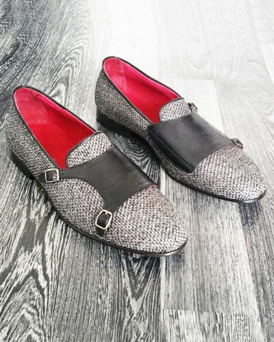 Handmade Gray Suede Leather Double Monk Strap Loafers by BespokeDailyShop.com with Free Worldwide Shipping