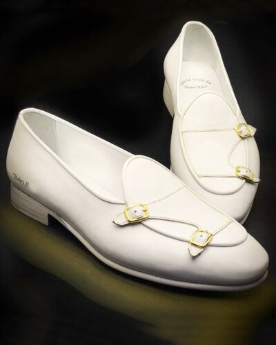 Handmade White Leather Monk Strap Loafers by BespokeDailyShop.com with Free Worldwide Shipping