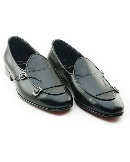 Handmade Yellow Leather Monk Strap Loafers by BespokeDailyShop.com with Free Worldwide Shipping